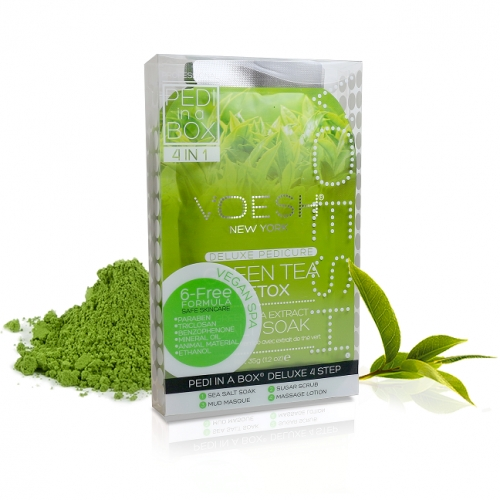 VOESH Green Tea Detox Pedi In A Box Deluxe Zestaw Do Pedicure 4 Kroki